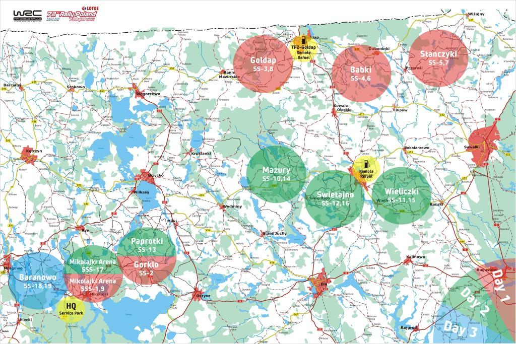72 Rajd Polski - mapy odcinków specjalnych