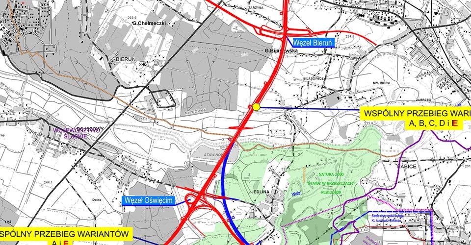 Droga S1:  Mysłowice<->Bielsko-Biała i obwodnice Bierunia i Oświęcimia.