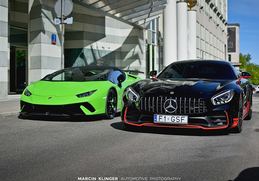 Lamborghini Huracan LP640-4 Perfomante Spyder i Mercedes Benz AMG GT R, fot. Marcin Klinger Automotive Photography