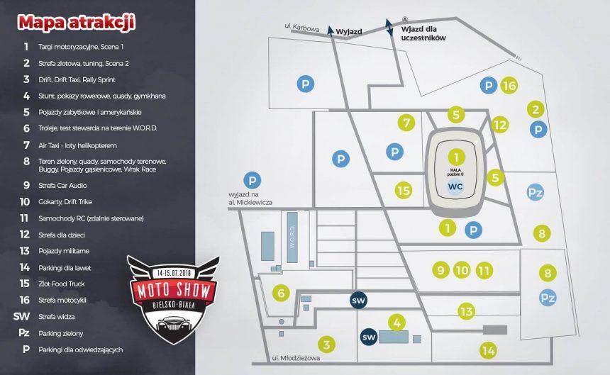 strefy i atrakcje na Moto Show Bielsko-Biała
