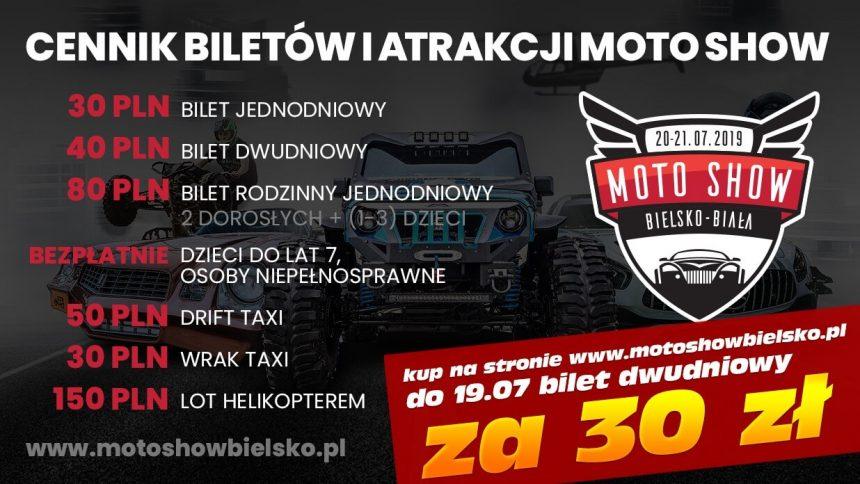 cennik biletów i atrakcji na Moto Show Bielsko 2019